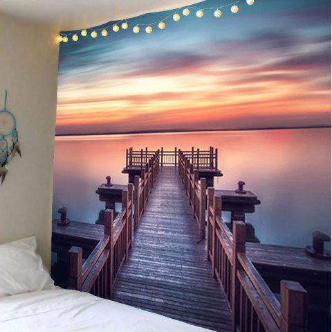 Sunset Wooden Bridge Waterproof Wall Tapestry - COLORFUL W79 INCH * L59 INCH
