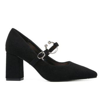 Block Heel Point Toe Suede Pumps - 37 37