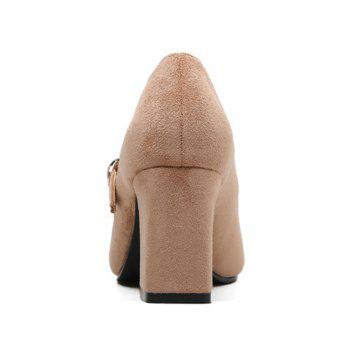 Block Heel Point Toe Suede Pumps - 38 38