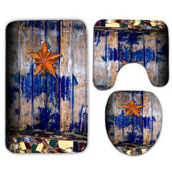 3Pcs/Set Starfish Wood Plank Pattern Bath Toilet Mat - WOOD COLOR