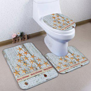 Starfish Wood Grain Christmas 3Pcs Toilet Bath Rug Set