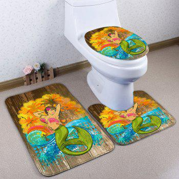 3Pcs Mermaid Wood Grain Pattern Bath Toilet Mat Set