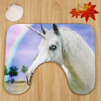 3Pcs Rainbow Unicorn Antislip Set de tapis de toilette - multicolorcolore