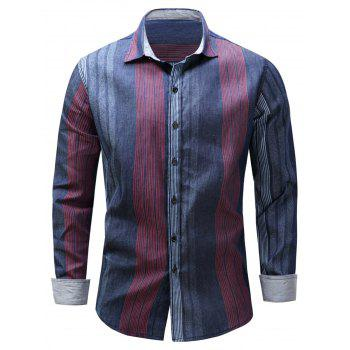 Color Block Panel Stripe Long Sleeve Chambray Shirt