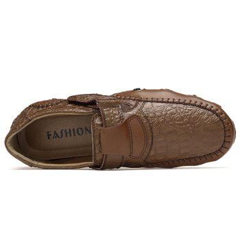 Embossed Stitching Slip On Casual Shoes - BROWN 43
