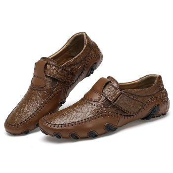 Embossed Stitching Slip On Casual Shoes - BROWN 44