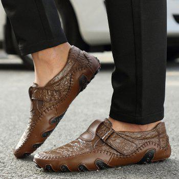 Embossed Stitching Slip On Casual Shoes - BROWN 42