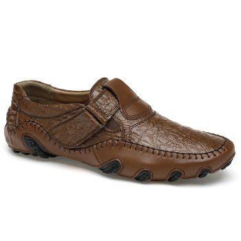 Embossed Stitching Slip On Casual Shoes - BROWN 38