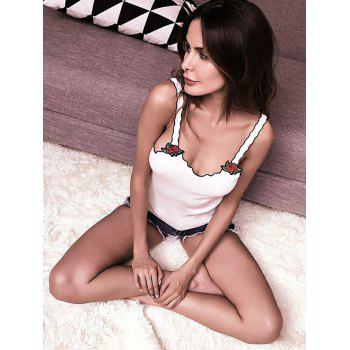 Embroidery Patch Ruffle Slip Top - WHITE ONE SIZE