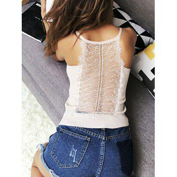 Lace Insert Hollow Out Ribbed Cami Top - WHITE ONE SIZE