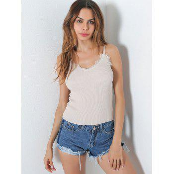 Lace Insert Hollow Out Ribbed Cami Top - WHITE WHITE
