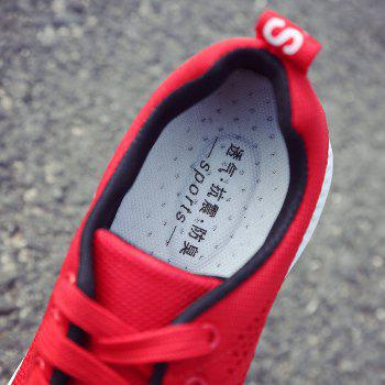 Breathable Hollow Out Mesh Sneakers - RED 40