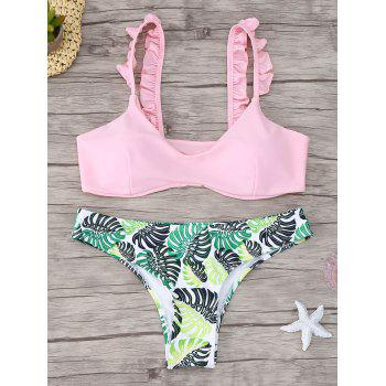 Frill Trim Scoop Neck Printed Bikini Set - PINK S