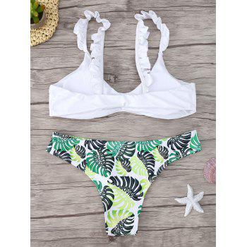 Frill Trim Scoop Neck Printed Bikini Set - WHITE M