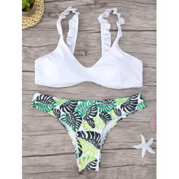 Frill Trim Scoop Neck Printed Bikini Set - WHITE WHITE
