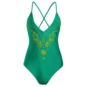 Cross Back Plus Size Embroidered Swimsuit - GREEN 4XL