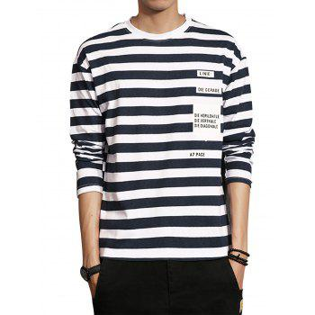 Graphic Print Stripe Long Sleeve T-shirt - CADETBLUE L
