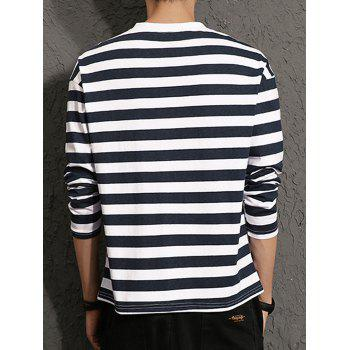 Graphic Print Stripe Long Sleeve T-shirt - M M