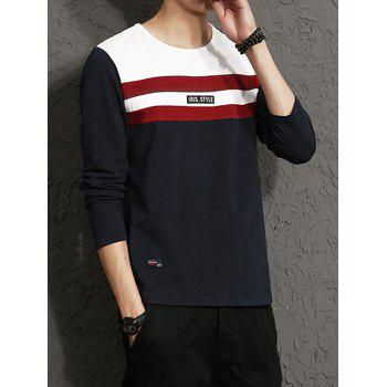 Applique Color Block Stripe Panel T-shirt - 5XL 5XL