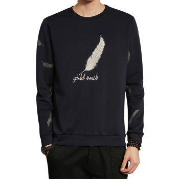 Feather Graphic Embroidered Long Sleeve Sweatshirt - CADETBLUE 3XL