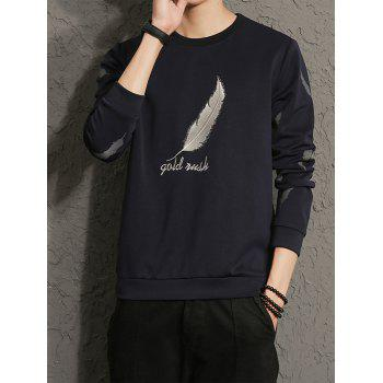 Feather Graphic Embroidered Long Sleeve Sweatshirt - XL XL