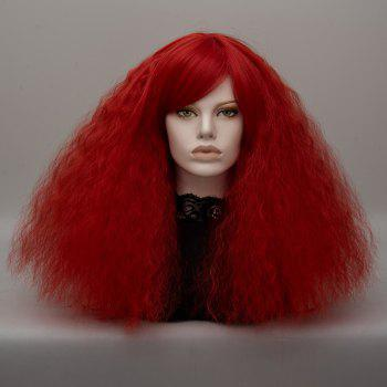 Long Inclined Bang Shaggy Curly Wave Lolita Cosplay Wig - RED RED