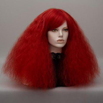 Long Inclined Bang Shaggy Curly Wave Lolita Cosplay Wig -  RED