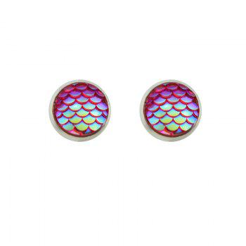 Round Tiny Mermaid Scales Stud Earrings - Rouge