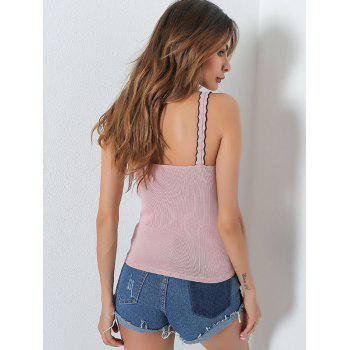 Embroidery Patch Ruffle Slip Top - ONE SIZE ONE SIZE