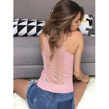 Lace Insert Hollow Out Ribbed Cami Top - ONE SIZE ONE SIZE