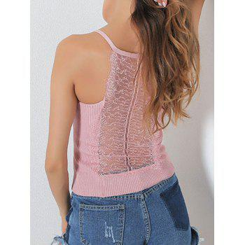 Lace Insert Hollow Out Ribbed Cami Top - PINK ONE SIZE