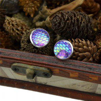 Round Tiny Mermaid Scales Stud Earrings - Pourpre
