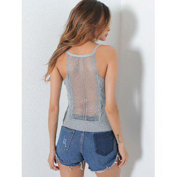 Lace Insert Hollow Out Ribbed Cami Top - GRAY GRAY