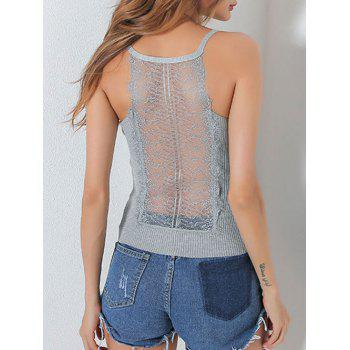 Lace Insert Hollow Out Ribbed Cami Top