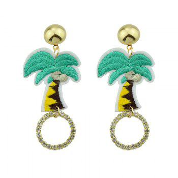Rhinestone Circle Coconut Palm Embroidery Earrings