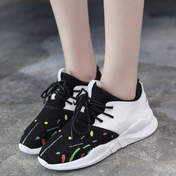 Low-top Graffitti Mesh Sneakers - BLACK BLACK