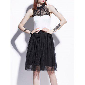 Lace Panel Color Block Pin Up Dress