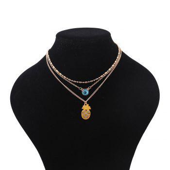 Rhinestoned Pineapple Pendant Chain Necklace - GOLDEN GOLDEN