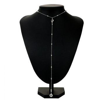 Alloy Faux Crystal Long Round Necklace - SILVER SILVER