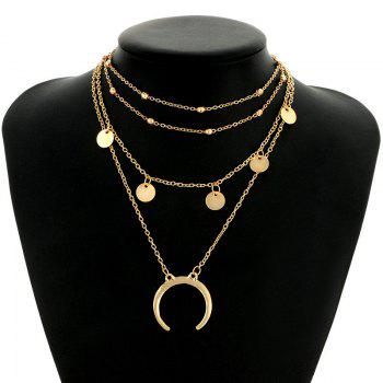 Tribal Circle Sequins Pendant Layered Necklace - GOLDEN GOLDEN
