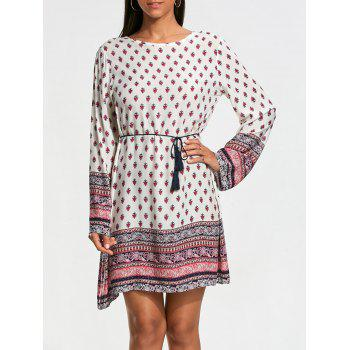 Long Sleeve Bohemia Print Tunic Dress - WHITE L