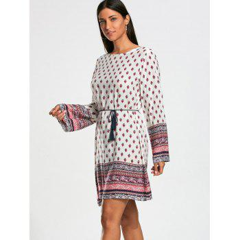 Long Sleeve Bohemia Print Tunic Dress - L L
