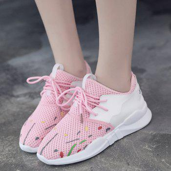 Low-top Graffitti Mesh Sneakers - LIGHT PINK 37