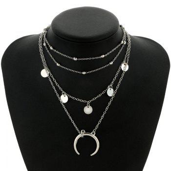 Tribal Circle Sequins Pendant Layered Necklace - SILVER SILVER