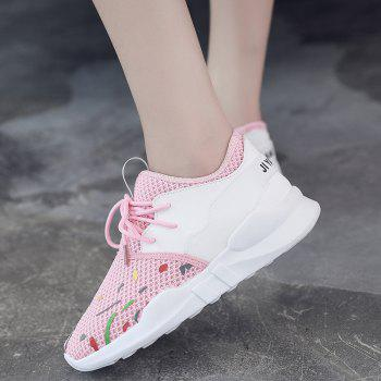 Low-top Graffitti Mesh Sneakers - LIGHT PINK 38