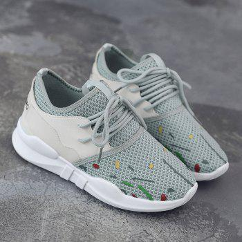 Low-top Graffitti Mesh Sneakers - GRAY 39