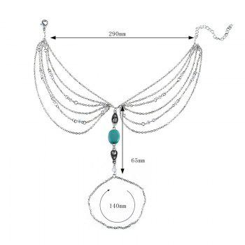 Faux Turquoise Slave Teardrop Chain Anklet -  SILVER