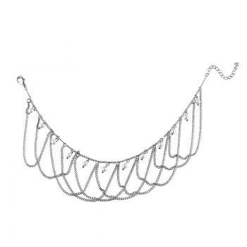 Faux Pearl Fringed Chain Vintage Anklet -  SILVER