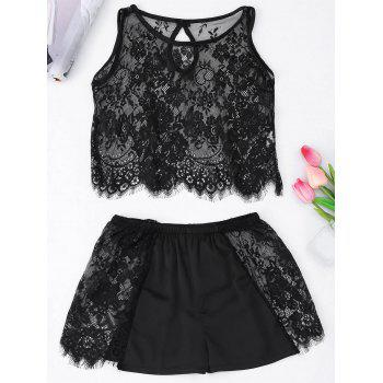 See Through Cropped Lace Tank Top with Shorts