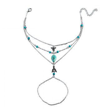 Bohemian Faux Turquoise Slave Teardrop Anklet - SILVER